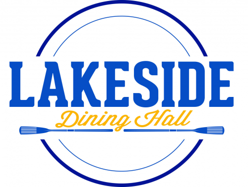 Lakeside Dining Hall logo featuring text above an oar